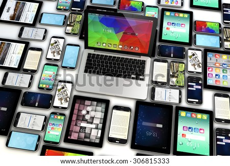 3d render of group of 3d generated mobile devices. All screen graphics are made up. - stock photo