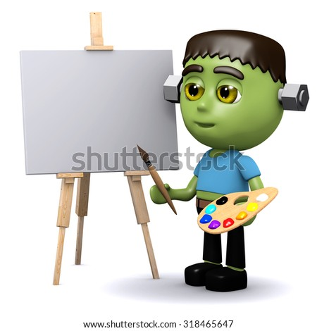 3d render of Halloween monster painting a picture - stock photo