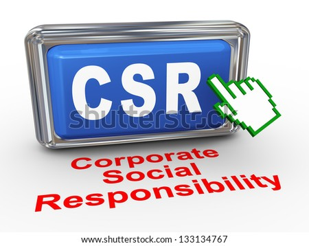 3d render of hand cursor pointer click on button with phrase csr  corporate social responsibility button - stock photo