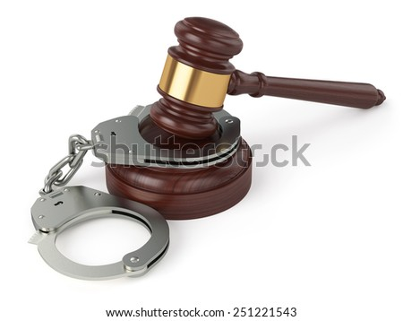 3d render of handcuffs and judge gavel isolated on white background - stock photo