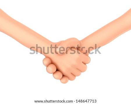 3d render of hands doing shakehands - stock photo