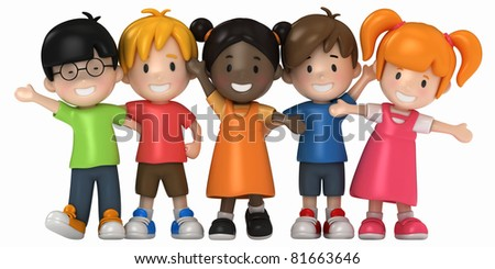 3D Render of Happy Kids - stock photo