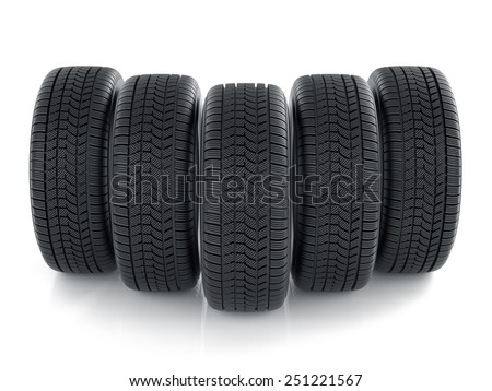 3d render of high detaled tyres isolated on white background  - stock photo