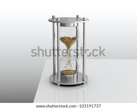 3D render of hourglass with golden grain - stock photo