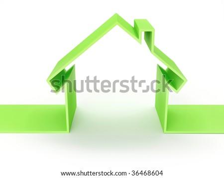 3d Render Of House Eco Concept (Rent Metaphor) - stock photo