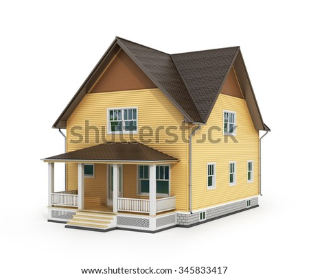 3d render of house isolated on a white. - stock photo