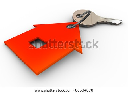 3d render of house key chain - stock photo