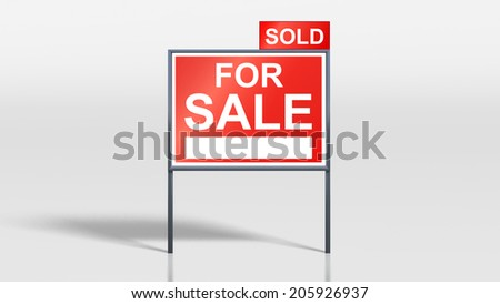3d render of house signage stands house for sale sold - stock photo