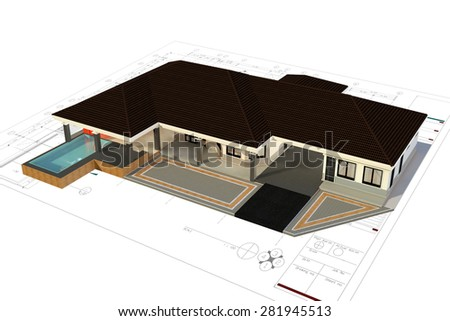 3D render of house with isolated on white background - stock photo
