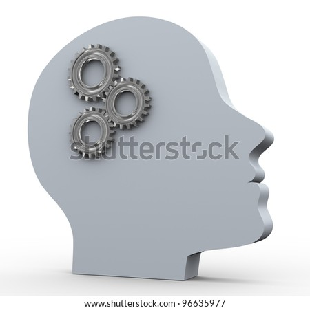3d render of human head with gear. Concept of intelligence and thought process - stock photo
