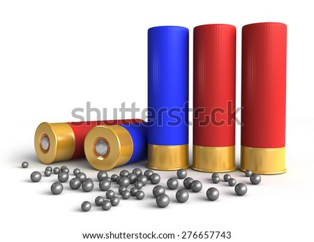 3d render of hunting cartridges over white background - stock photo