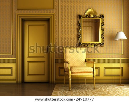 3D render of Interior scene of luxury palace living-room with lots of golden molding and furniture - stock photo
