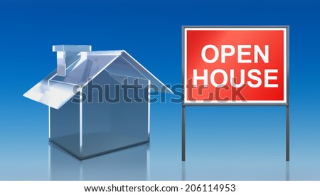3d render of investment blue glass house open house - stock photo
