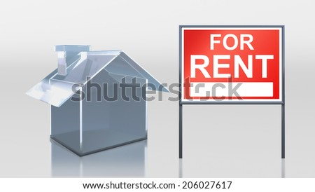 3d render of investment glass house for rent - stock photo