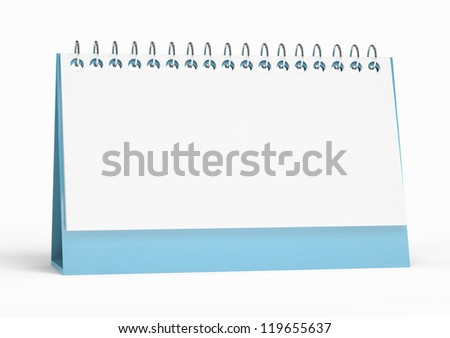 3d render of isolated blank calendar. computer generated - stock photo