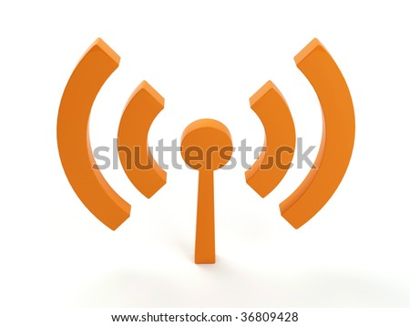 3d render of isolated wireless icon. In orange color! - stock photo
