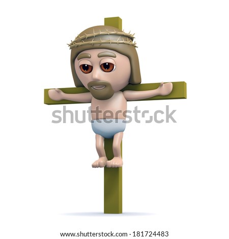 3d render of Jesus on the cross - stock photo
