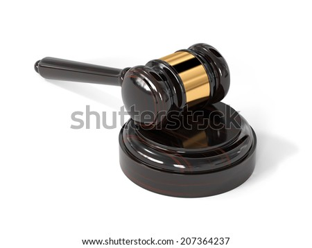 3d render of judge wooden gavel isolated on white background  - stock photo