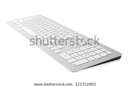 3D render of keyboard isolated on white background - stock photo