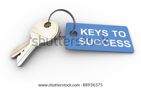 3d render of keys with success tag - stock photo