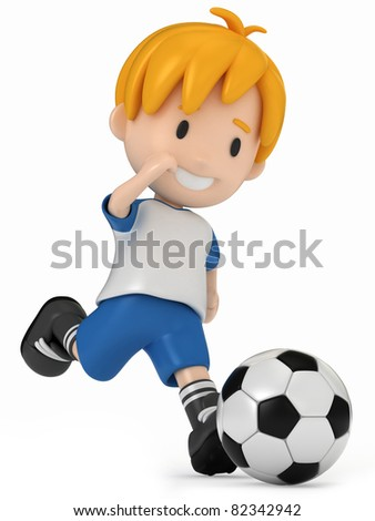 3D Render of Kid kicking Soccer Ball - stock photo