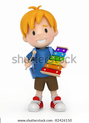 3D Render of Kid playing Xylophone - stock photo
