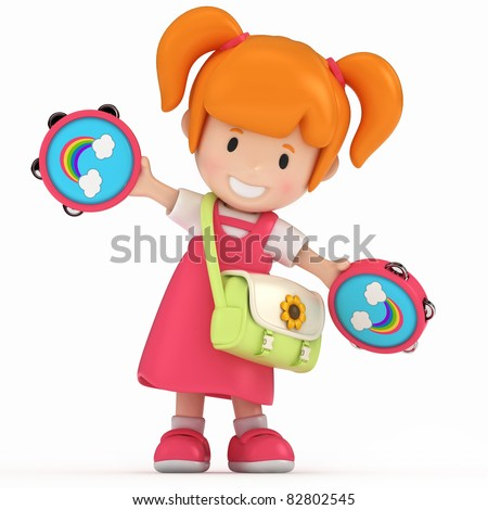 3D Render of Kid with Tambouring - stock photo