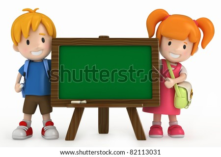 3D Render of Kids and Chalkboard - stock photo