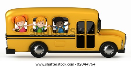 3D Render of Kids Riding School Bus - stock photo
