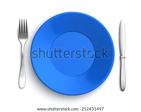 3d render of knife, fork and blue plate over white background - stock photo