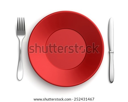 3d render of knife, fork and red plate over white background - stock photo