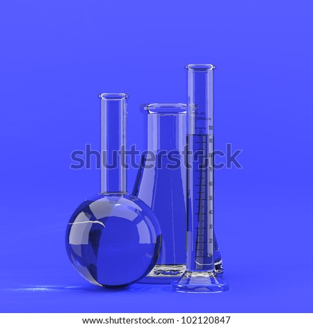 3d render of laboratory glassware on blue background - stock photo