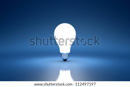 3d render of light bulb on blue background - stock photo