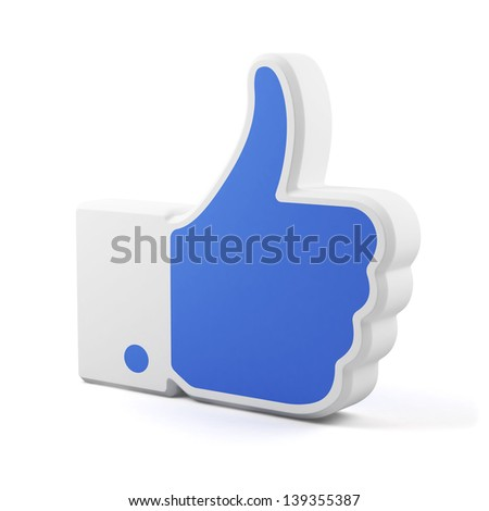 3d render of like symbol isolated on white background - stock photo