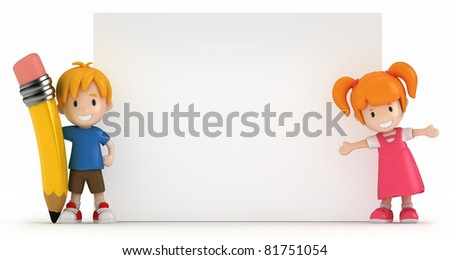 3D Render of Little Boy and Girl with Blank Board - stock photo