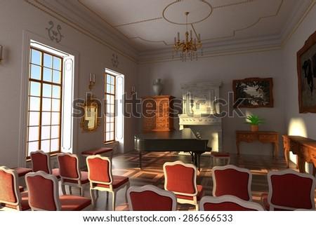 3d render of luxury manor interior - hall - stock photo
