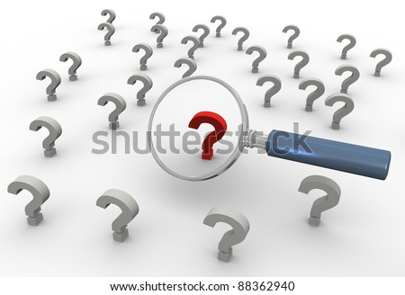 3d render of magnifying glass hover over red question mark - stock photo