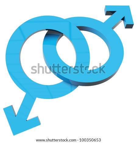 3d render of male symbols linked together over white - stock photo