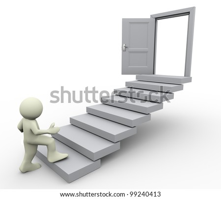 3d render of man climbing on stair. Concept of first step for career growth. - stock photo