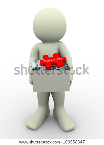 3d render of man holding puzzles pieces box having big red solution puzzle . 3d illustration of human character. - stock photo