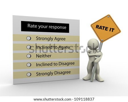3d render of man holding rate it road sign and response questionnaire. 3d illustration of human character - stock photo