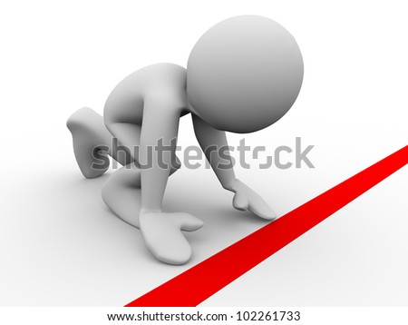 3d render of man in starting position at starting line. 3d illustration of human character ready for race - stock photo