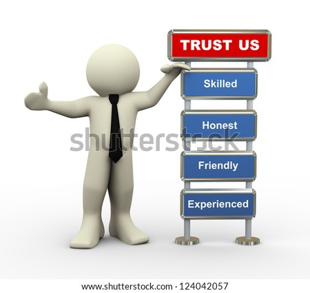 3d render of man standing with trust us feature list - stock photo