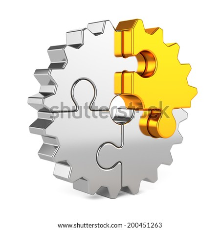 3d render of metal gear puzzle pieces with golden one isolated on white background. Partnership and success concept  - stock photo