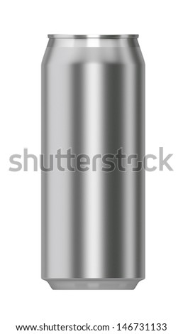 3d render of metallic can from front isolated on white - stock photo