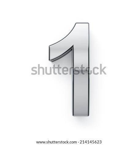 3d render of metallic digit one symbol - 1. Isolated on white background - stock photo