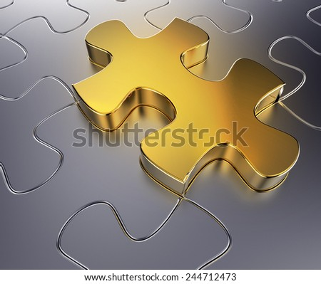 3d render of metallic jigsaw puzzle with an outstending golden piece - stock photo
