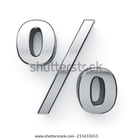 3d render of metallic percent sign symbol. Isolated on white background  - stock photo