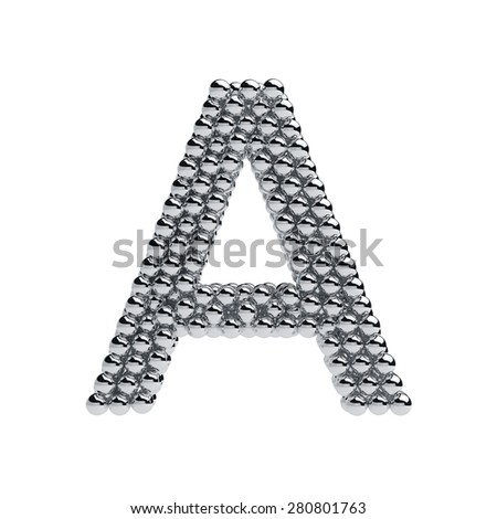 3d render of metallic spheres alphabet letter symbol - A. Isolated on white background - stock photo
