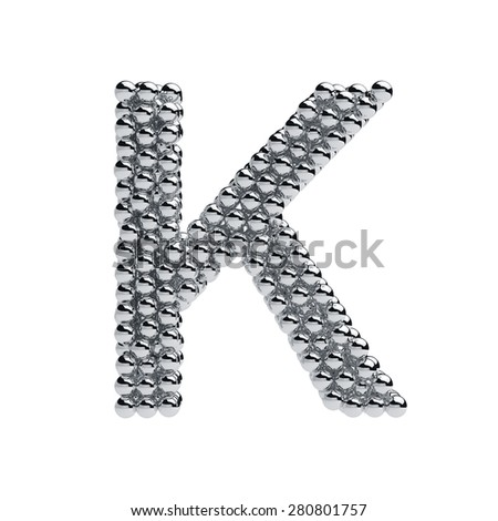 3d render of metallic spheres alphabet letter symbol - K. Isolated on white background - stock photo